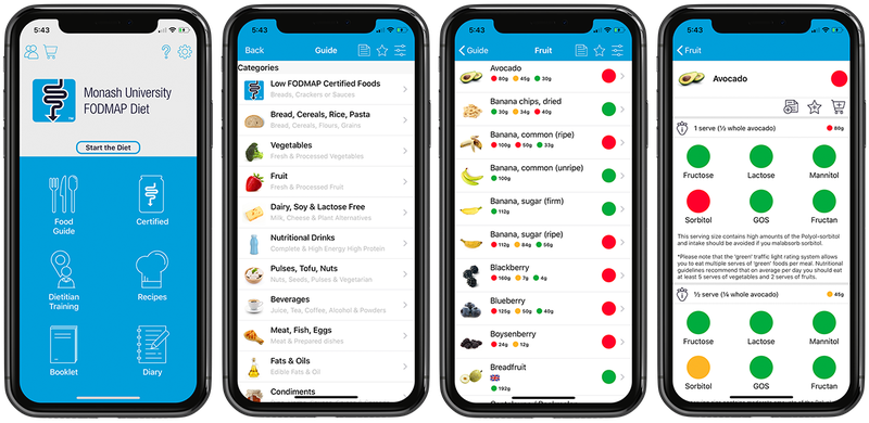 screenshot of the monash fodmap app