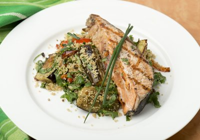 Fresh salmon fillet with Middle Eastern vegetable quinoa
