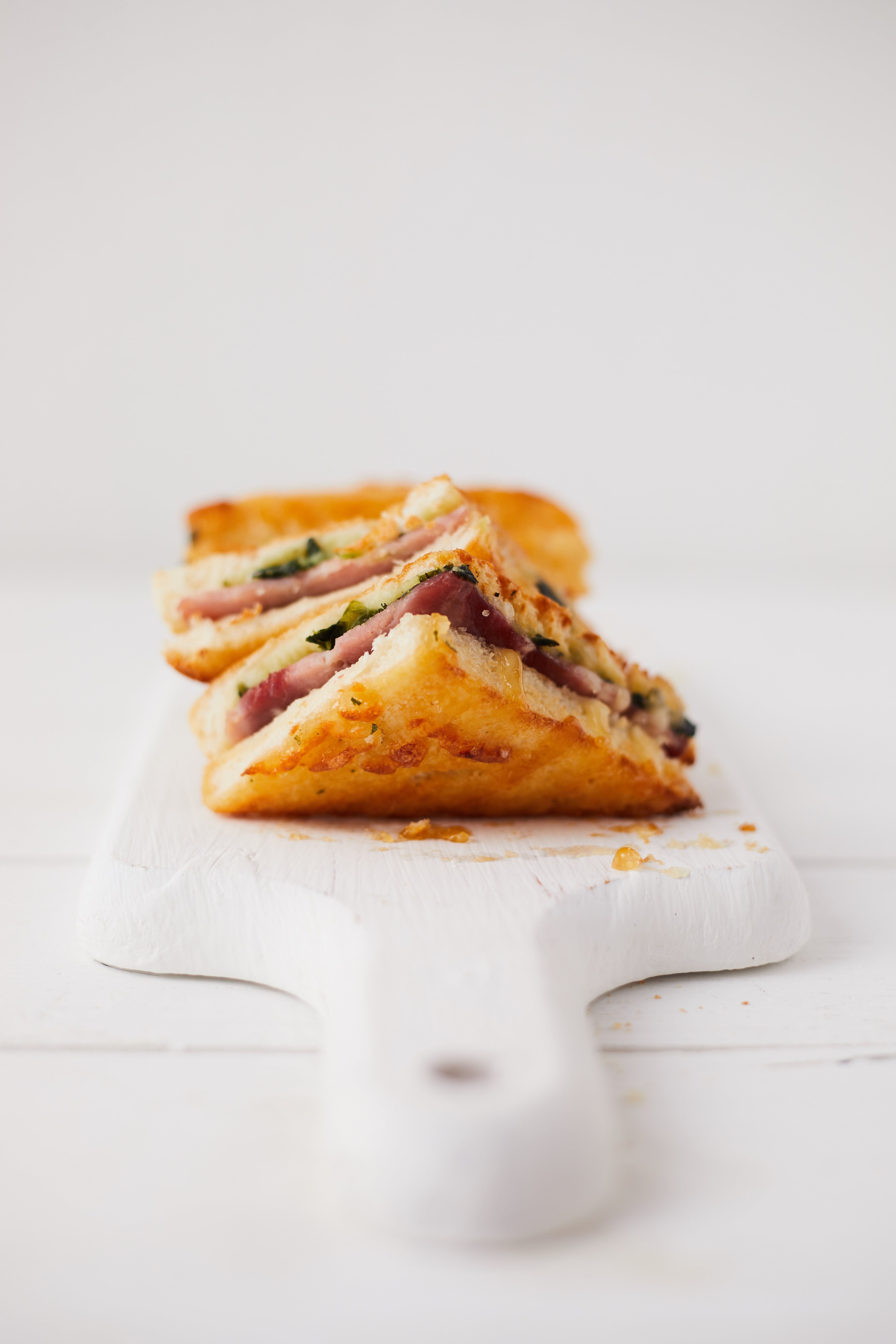 Ham, Cheese & Spinach Toasted Sandwiches