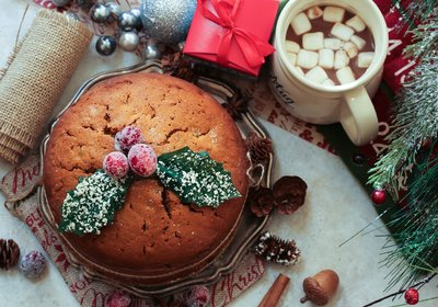 Low FODMAP Christmas Cake with Brandy Custard