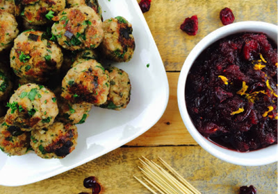 Low FODMAP Herby Chicken & Pork Meatballs with Cranberry Sauce