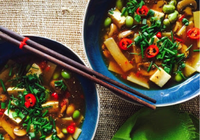 Low FODMAP Hot & Sour Asian Soup (Vegan)
