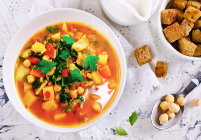 Low FODMAP Vegetable and Chickpea Soup