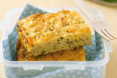 Low FODMAP zucchini and rice slice