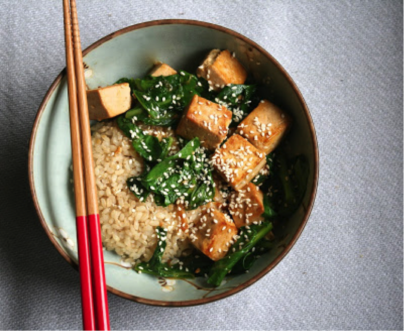 Marinated Tofu with Asian Greens & Rice