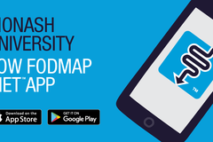 Cartoon image of an android tablet with the FODMAP app on it