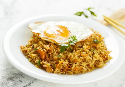 Nasi Goreng, rice dish with fried egg on top