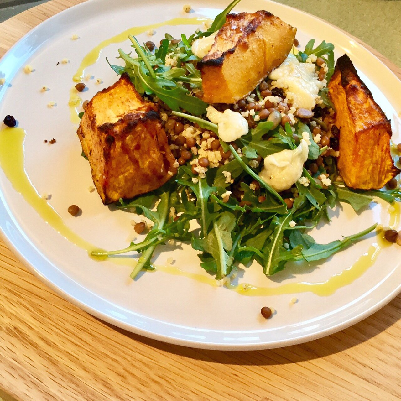Roast Pumpkin, Halloumi & Millet Salad with Lemon-Herb Dressing