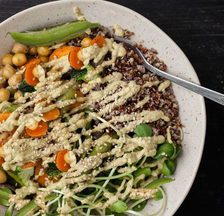 Vegan Roasted Chickpea and Vegetable Bowl with Peanut Cream