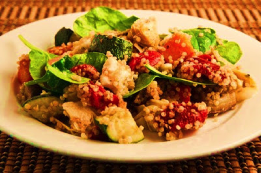 Zesty Moroccan chicken and roast vegetable salad with quinoa