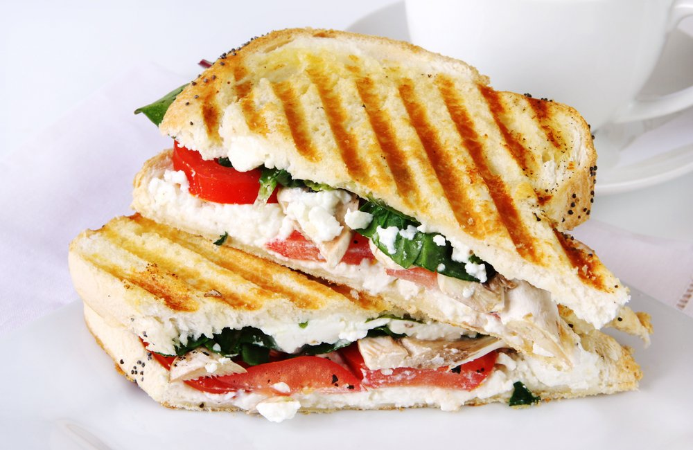 capsicum, feta and chicken sandwich