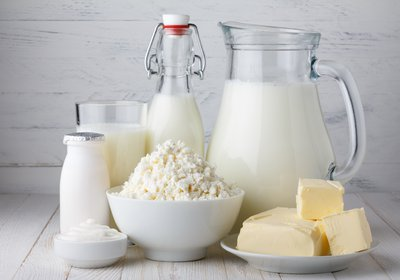 Image of different dairy sources, milk, butter, cottage cheese, yoghurt