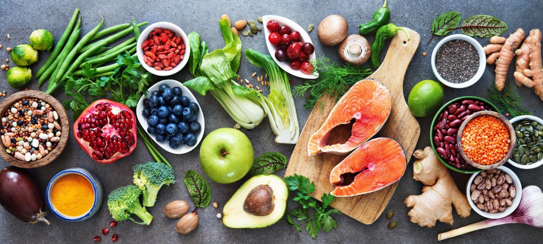 display of foods