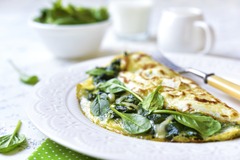 spinach, feta and pinenut omelette